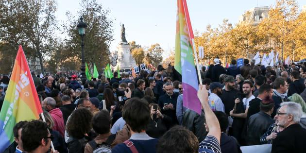 Manifestation contre les actes homophobes et les LGBT-phobies à Paris, le 21 octobre 2018.