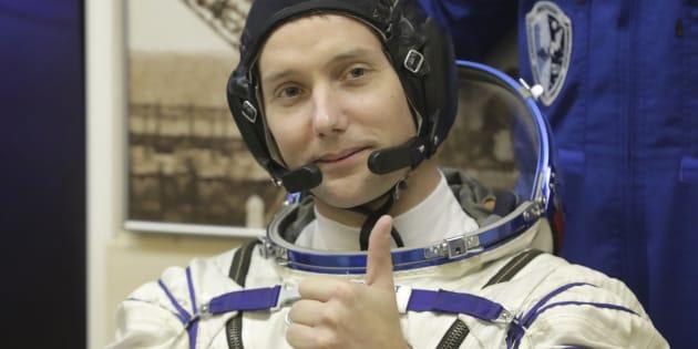 Thomas Pesquet avant le lancement de la fusée Soyouz, le 17 novembre au Kazakhstan.