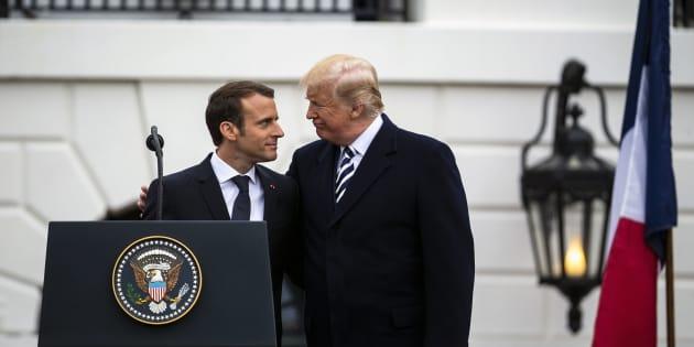 Emmanuel Macron et Donald Trump à Washington le 24 avril 2018.