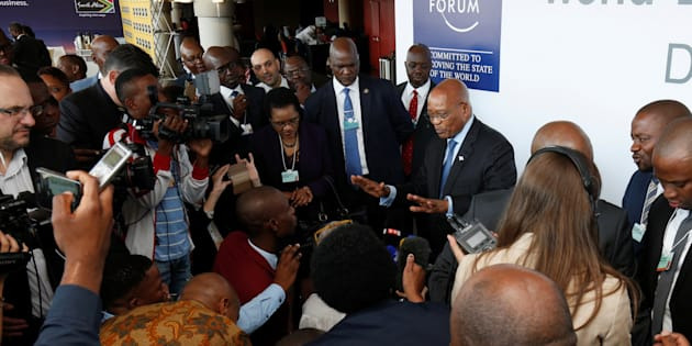 South African President Jacob Zuma speaks to journalists after a tour of the World Economic Forum on Africa 2017 meeting in Durban, South Africa, May 3, 2017.