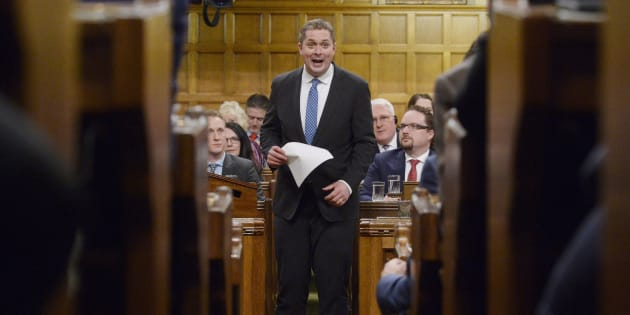 Tory Leader Andrew Scheer rises during question period in the House of Commons on Parliament Hill in Ottawa on Dec. 12, 2018.