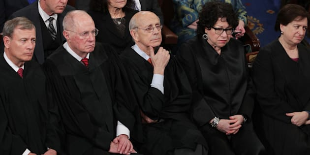 WASHINGTON, DC - FEBRUARY 28:  (L-R) Supreme Court Chief Justice John Roberts, Supreme Court Associate Justice Anthony Kennedy, Supreme Court Associate Justice Stephen Breyer, Supreme Court Associate Justice Sonia Sotomayor and Supreme Court Associate Justice Elena Kagan look on as U.S. President Donald Trump addresses a joint session of the U.S. Congress on February 28, 2017 in the House chamber of  the U.S. Capitol in Washington, DC. Trump's first address to Congress focused on national security, tax and regulatory reform, the economy, and healthcare.  (Photo by Alex Wong/Getty Images)
