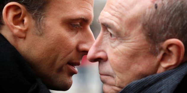Emmanuel Macron avec le ministre de l'intérieur Gérard Collomb, le 7 janvier 2018.