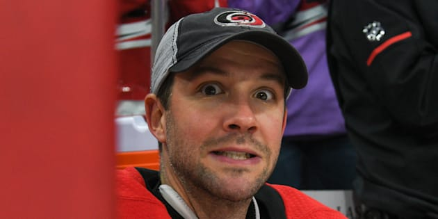 Goalie Cam Ward shows some emotion as he is honoured for reaching 300 wins during a game at the PNC Arena in Raleigh, NC on Dec. 16, 2017.