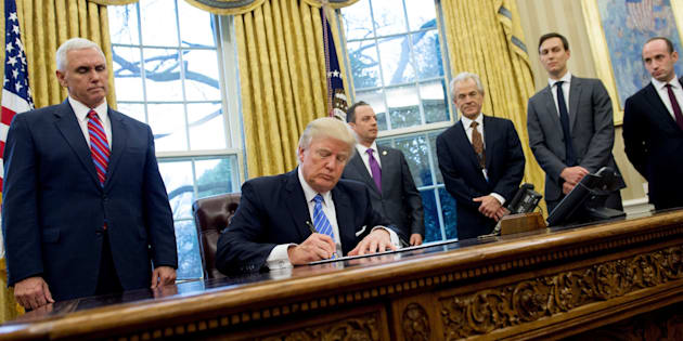 President Donald Trump signed three executive orders Monday in the Oval Office.
