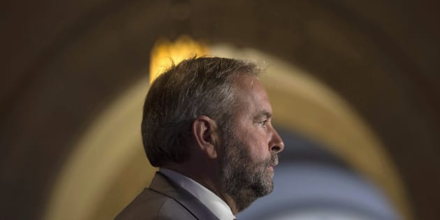 NDP leader Tom Mulcair speaks to media after the NDP held their weekly caucus meeting in Ottawa on Sept. 28, 2016.