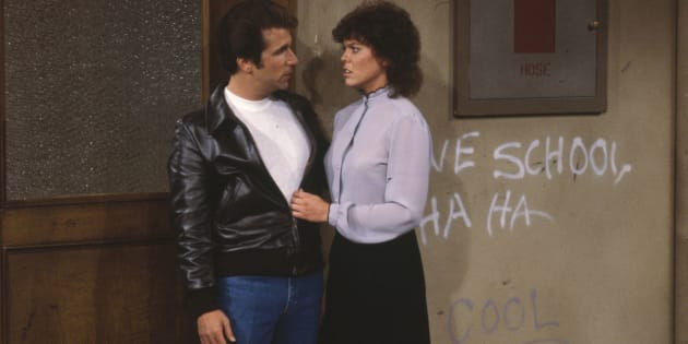 UNITED STATES - DECEMBER 05:  HAPPY DAYS - 'Kiss Me, Teach' 1/10/84 Henry Winkler, Erin Moran  (Photo by ABC Photo Archives/ABC via Getty Images)