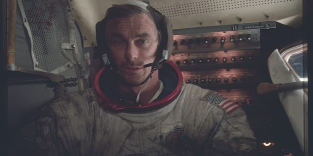 Astronaut Eugene A. Cernan, Apollo 17 commander, is photographed inside the lunar module on the lunar surface following the second extravehicular activity (EVA) of his mission in this 12 December, 1972 NASA handout photo.