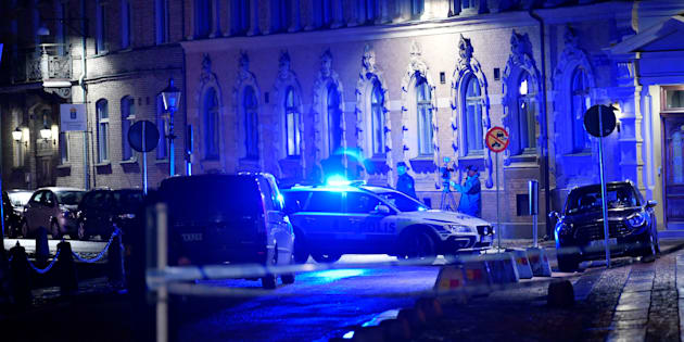 Police is seen at the site of an attack near a synagogue in Gothenburg, Sweden December 9, 2017.