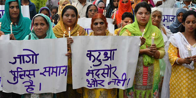 Muslim women take part in a protest against the rapes in Mandsaur and Kathua in Bhopal on July 1.