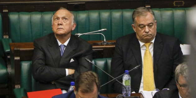 Former Steinhoff chairperson Christo Wiese and the company's executives appear at a parliamentary hearing into the Steinhoff scandal on January 31 2018 in Cape Town.