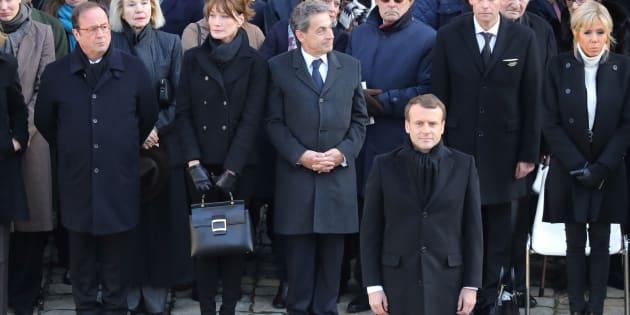 François Hollande, Nicolas Sarkozy et Emmanuel Macron durant l'hommage à Jean d'Ormesson aux Invalides à Paris, le 8 décembre 2017.