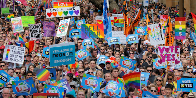 Thousands gather at a rally for marriage equality of same-sex couples in Sydney, Australia, September 10, 2017.        REUTERS/Jason Reed