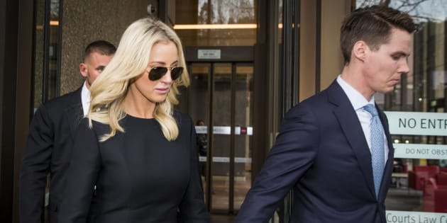 Oliver Curtis and Roxy Jacenko outside court.