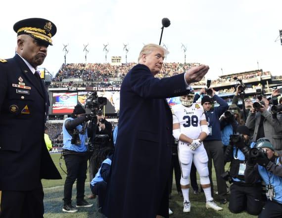 Donald Trump mocked for weird coin toss