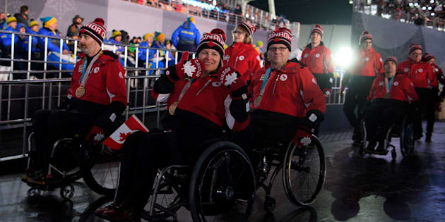 Team Canada enters the stadium during the Closing Ceremony for The Paralympic Winter Games in the PyeongChang Olympic Stadium on Sunday.