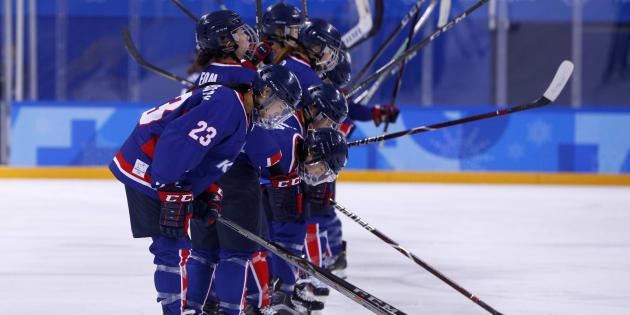 Ice Hockey ? Pyeongchang 2018 Winter Olympics ? Women Preliminary Round Match - Sweden v Korea - Kwandong Hockey Centre, Gangneung, South Korea ? February 12, 2018 -Players of Korean team bow. REUTERS/Brian Snyder
