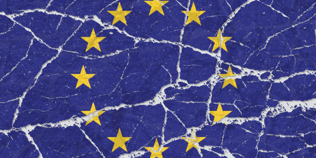 Cracked broken grunge textured flag of European Union.