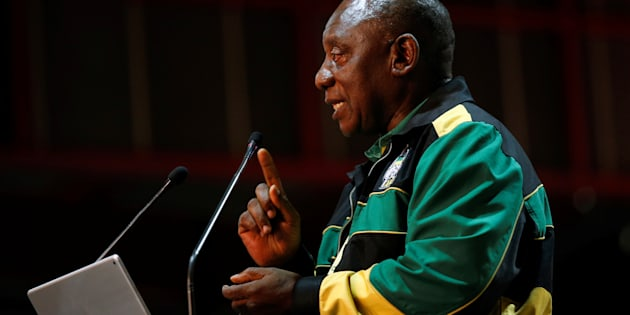 Cyril Ramaphosa makes the closing address at the 54th national conference of the ANC in Johannesburg. December 21, 2017.