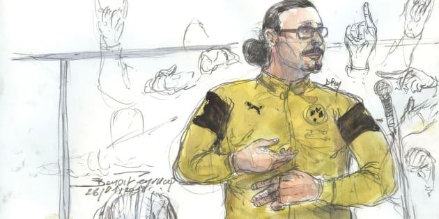 JawadBendaoud (dessiné le 26 janvier au palais de justice de Paris) est condamné à XX ans de prison.