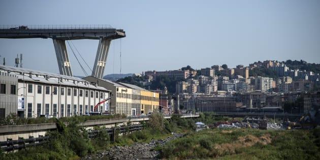 Le pont Morandi effondré à Gênes, le 17 août 2018.