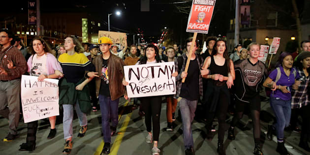 People march in protest to the election of Republican Donald Trump as President of the United States.