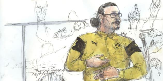 Stratégie ou personnalité sans filtre, comment comprendre l'attitude de Jawad à son procès? (Dessin d'audience, 26 janvier).