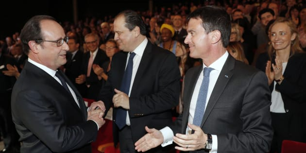 François Hollande, Jean-Christophe Cambadélis et Manuel Valls en mai 2016.