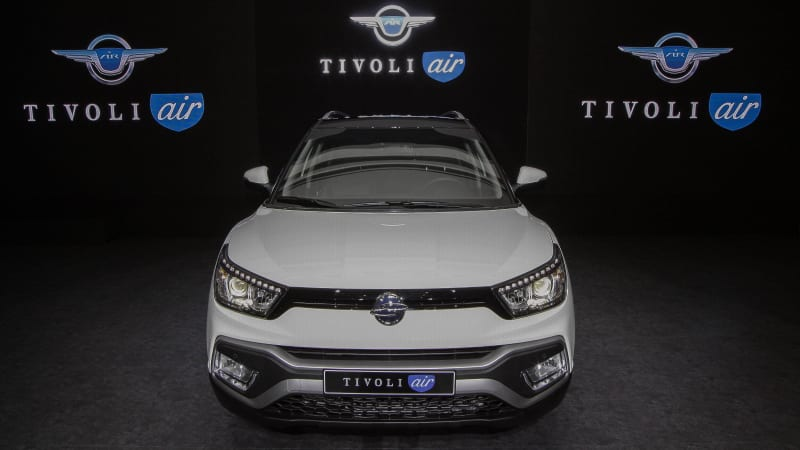 ssangyong-motors-new-suv-tivoli-air-unveiling-ceremony-in-seoul-south-picture-id612123894