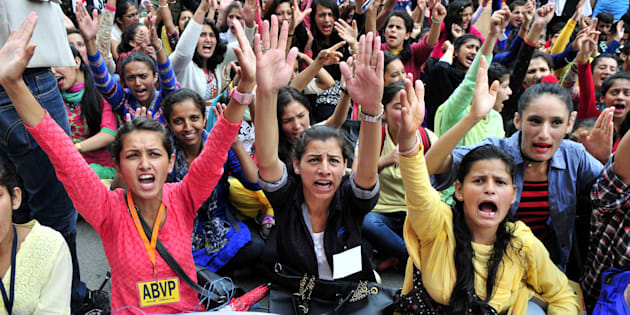 Supporters of ABVP protest against rape and murder of Kotkhai girl at Mall road on July 20, 2017 in Shimla.