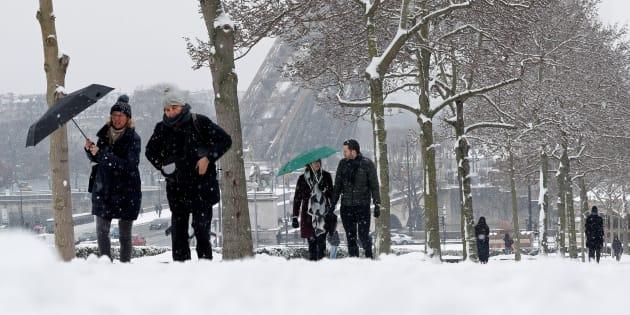 Paris sous la neige le 9 février 2018.