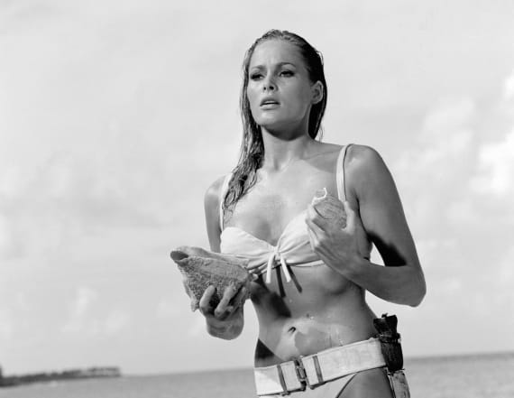 Original Bond girl Ursula Andress then and now