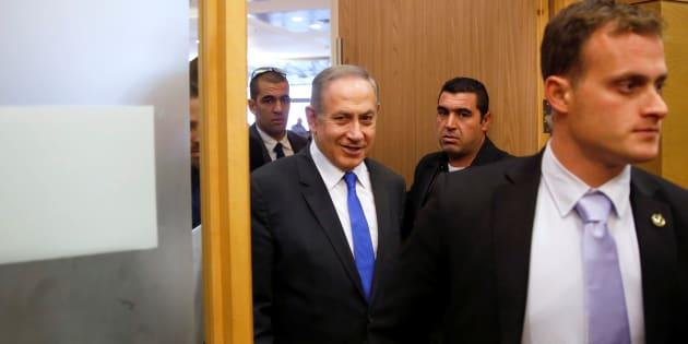 Le premier ministre d'Israël Benjamin Netanyahu arrive à une réunion du Likoud à la Knesset, lundi 2 janvier