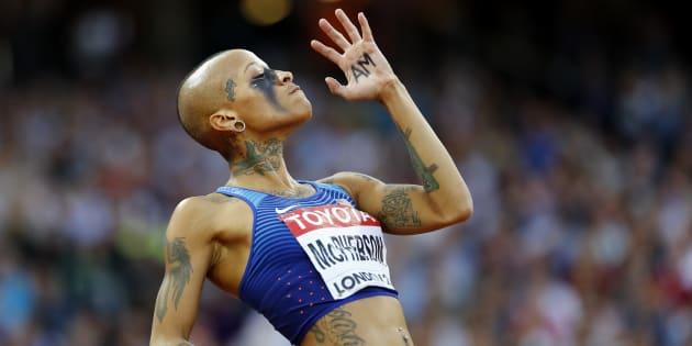 Aux Mondiaux de Londres, le look de cette athlète n'est pas passé inaperçu