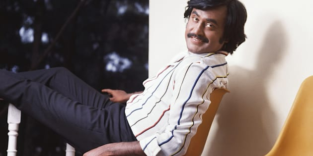 1985, Portrait of Indian film actor Rajinikanth. (Photo by Dinodia Photos/Getty Images)