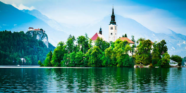 Santa Maria Church on the island on the Lake Bled (Blejsko jezero), lake in the Julian Alps in northwestern Slovenia is a very popular tourist destination.