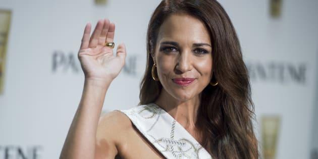 La actriz Paula Echevarria durante una presentacion en Madrid.