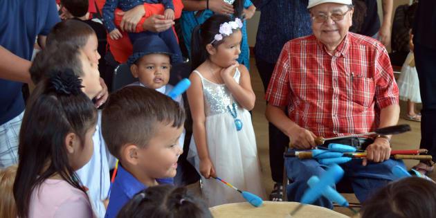 Elder Fred John at Singing Frog Aboriginal Head Start Preschool Graduation