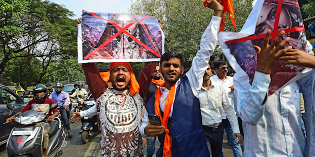 Rajput Karni Sena workers protesting outside the Central Board of Film Certification (CBFC) office in connection with the release of film Padmavat at Peddar Road, on January 12, 2018 in Mumbai.