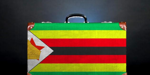 The Zimbabwe flag on a suitcase.