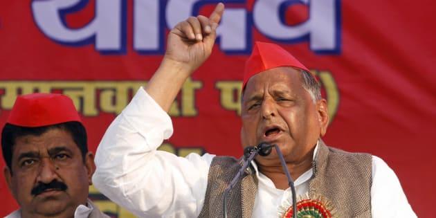 Samajwadi Party leader Mulayam Singh Yadav addresses an election rally in Allahabad.