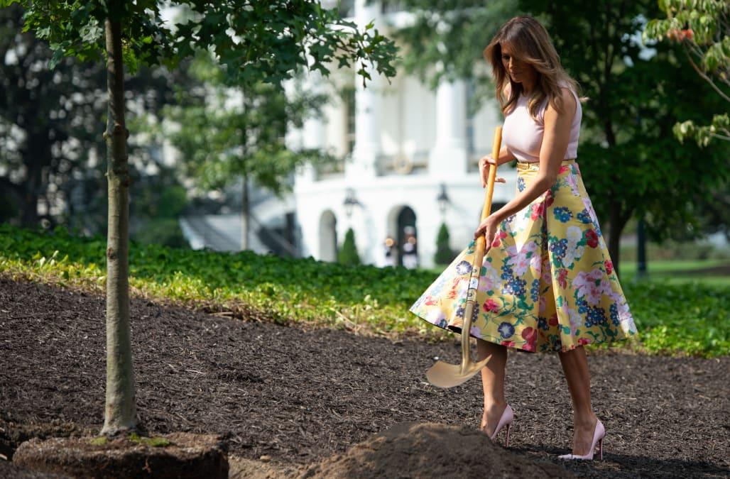 e882023b7167a Melania Trump wears $3,950 skirt and Louboutins to plant a tree ...