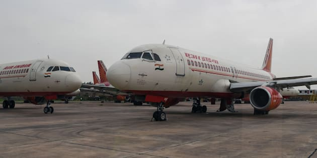 Air India planes at the Indira Gandhi International Airport in New Delhi.
