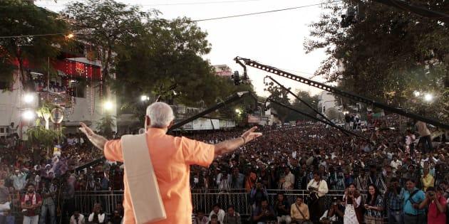 December 2012: Narendra Modi victory meeting at the BJP office in Ahmedabad, Gujarat. (Photo by Mahendra Parikh/Hindustan Times via Getty Images)