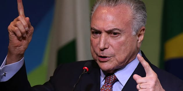 Brazilian President Michel Temer talks to the audience during the Brazilian Steel Conference in Brasilia, Brazil August 22, 2017. REUTERS/Adriano Machado