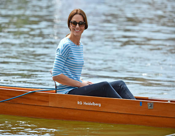 Kate Middleton laughs during boat race