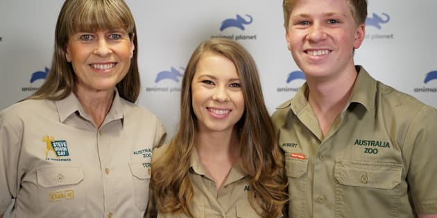 (From left) Terri, wife of the late Steve Irwin, her daughter Bindi and son Robert in a file photo.