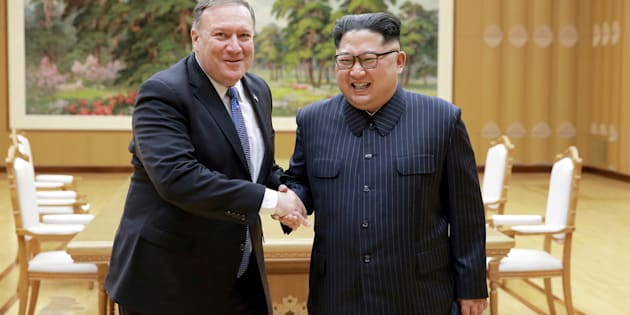 North Korean leader Kim Jong Un shakes hands with U.S. Secretary of State Mike Pompeo in this May 9, 2018 photo released on May 10, 2018 by North Korea's Korean Central News Agency (KCNA) in Pyongyang. KCNA/via REUTERS  ATTENTION EDITORS - THIS PICTURE WAS PROVIDED BY A THIRD PARTY. REUTERS IS UNABLE TO INDEPENDENTLY VERIFY THE AUTHENTICITY, CONTENT, LOCATION OR DATE OF THIS IMAGE. NO THIRD PARTY SALES. SOUTH KOREA OUT.  TPX IMAGES OF THE DAY
