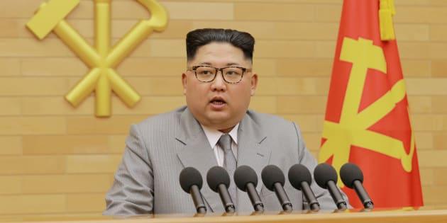 Kim Jong-Un lors de son discours du Nouvel An à Pyongyang le 1er janvier 2018.