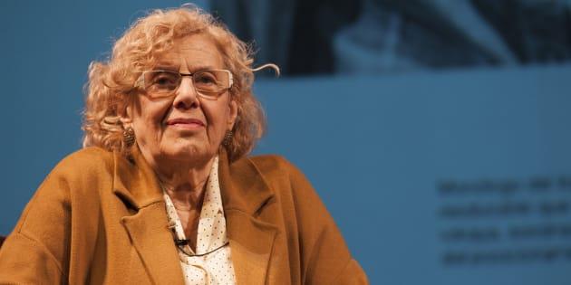 La alcaldesa de Madrid, Manuela Carmena, en el Teatro Español de Madrid.